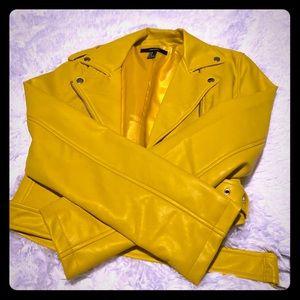 Yellow pleather motor jacket